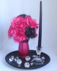 Pink And Black Wedding Centerpiece, Hot Pink Bridal Decor ...
