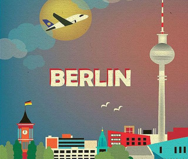 Berlin Germany Skyline  Vertical Wall Art Poster Print For Home Office And Nursery Style E O Ber