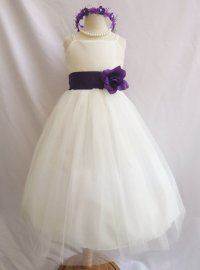 Ivory And Purple Junior Bridesmaid Dresses