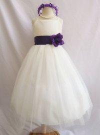 Ivory And Purple Junior Bridesmaid Dresses