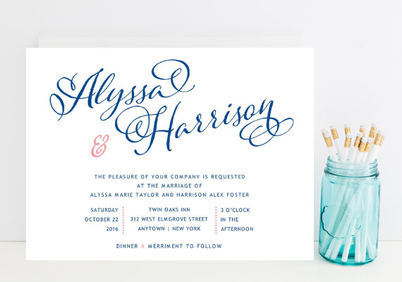 Navy And Pink Wedding Invitation Whimsical Script