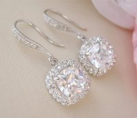 Gorgeous Cushion Cut Bridal Earrings Wedding Earrings ...