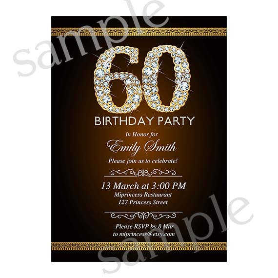 Premade Invitation Card Design 50 60 70 Any Age Gold Glitter Birthday Party Elegant 12