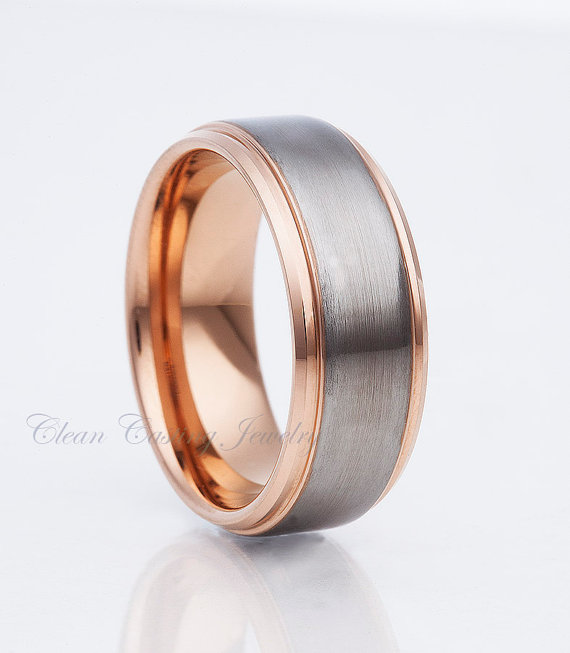 Mens Wedding Rings Mens Wedding Bands Rose Gold Tungsten