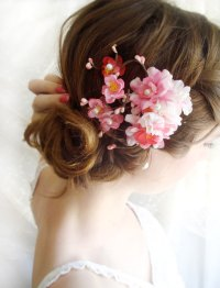 Hot Pink Bridal Hair Accessories - Cherry Blossom Hair ...