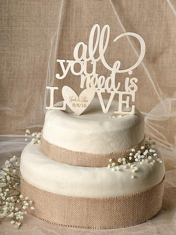 Rustic Cake Topper Wood Cake Topper All You Need Is Love