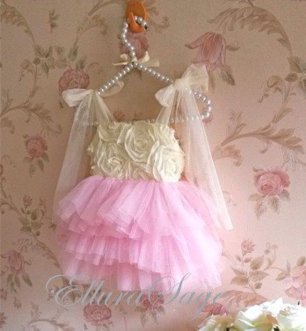 ivory and pink rosette tutu dress toddler light pink tutu dress ivory flower girl dress pink