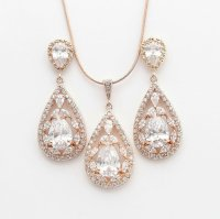 ROSE GOLD Jewelry Set Pink Gold Wedding Earrings And