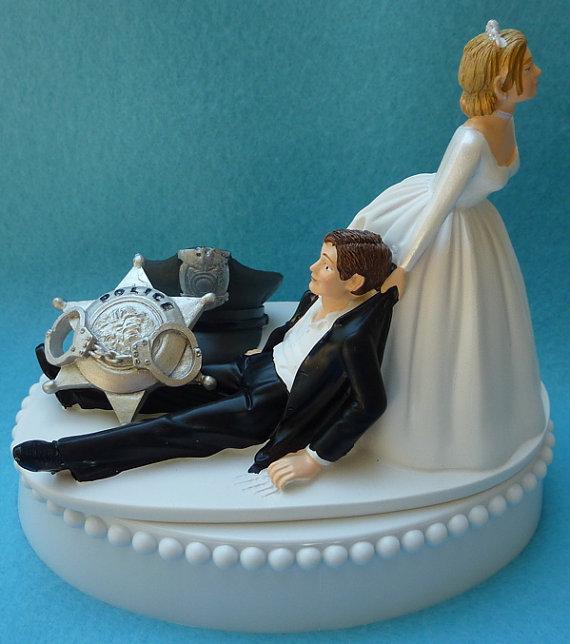 Wedding Cake Topper Police Officer Themed W Bridal Garter