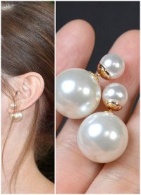 Dior Double Pearl Earring,gold,Mise En Pearl Earrings,snow