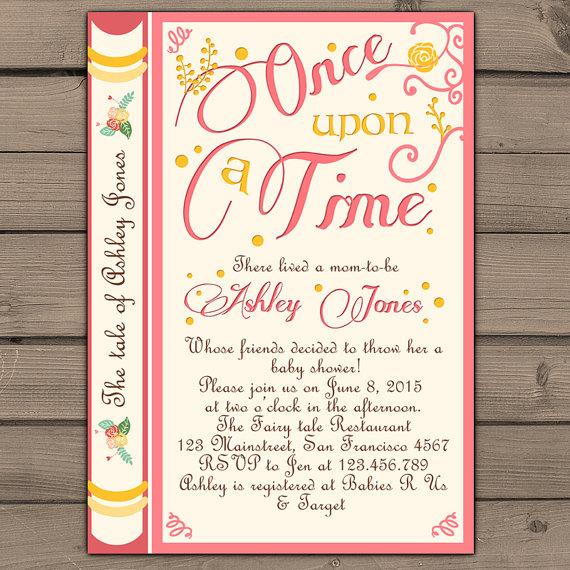 Once Upon A Time Baby Shower Invitation Invite Pink