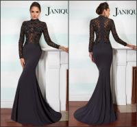 Fashion Long Sleeve Evening Dresses Satin Mermaid High ...