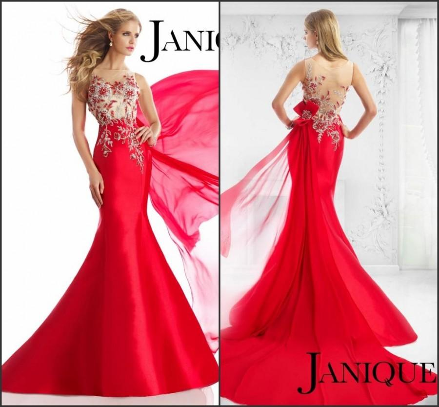 New Style 2015 Red Evening Dresses Janique Pageant Sheer