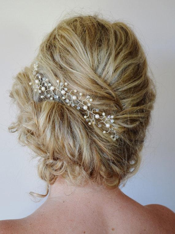 Pearl Crystal Hair Vine Wedding Hair AccessoriesBridal