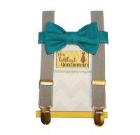 Boy Bow Tie Suspenders Set, Grey Teal Bow Tie Suspenders ...