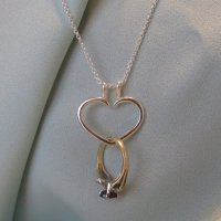 Heart Engagement Ring Holder Necklace Charm Pendant ...