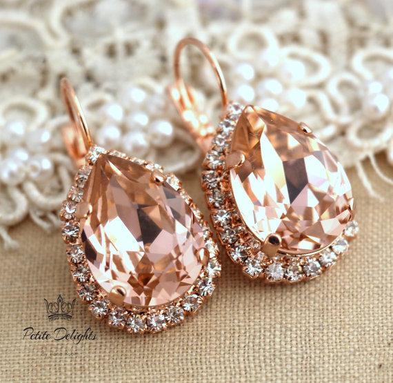 Blush Pink Peach Drop Earrings,Bridal Earrings Rhinestone