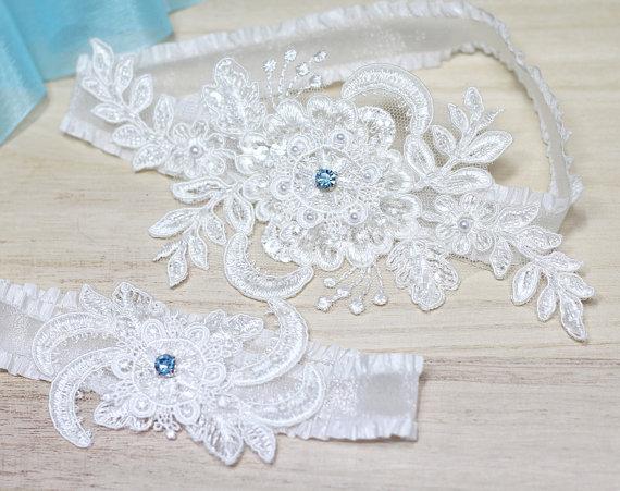 Wedding Garter Something Blue Garter Set Lace Garter Bridal