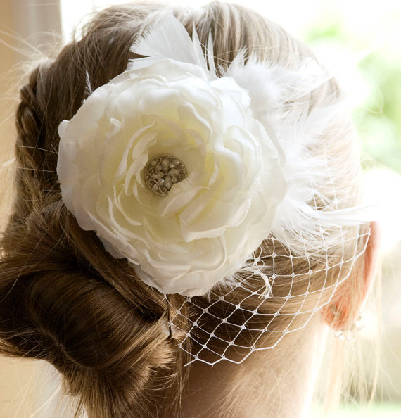 vintage wedding ivory flower hair piece weddings white fascinator head piece bridal hair flower clip wedding accessories hair piece