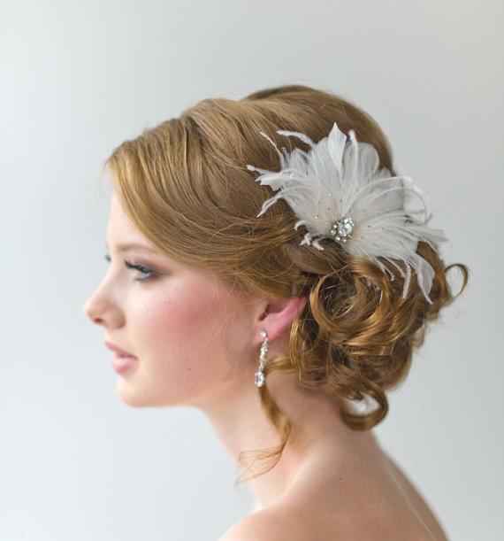 bridal fascinator wedding hair accessory feather head piece wedding feather hairclip ellie
