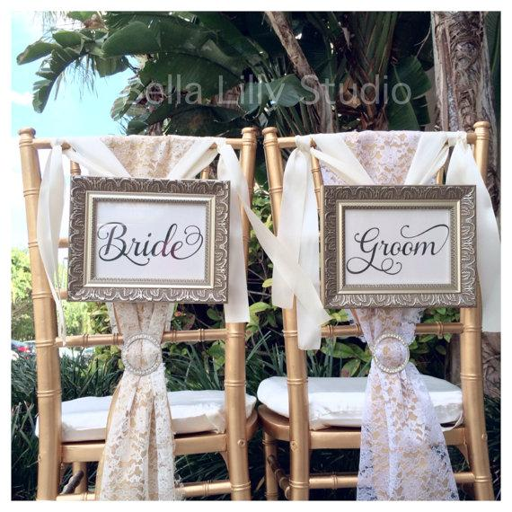 mr and mrs chair signs high back white office bride groom or wedding reception decorations
