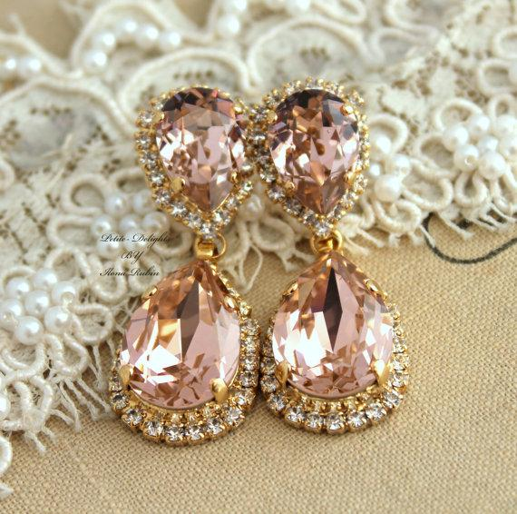 Blush Pink Bridal Chandelier Swarovski Rhinestone Earrings