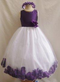 Flower Girl Dress - Purple Color Top Rose Petal Dress ...