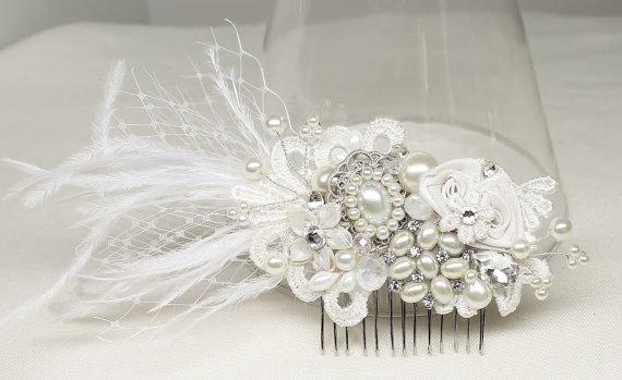 feather birdcage veil bridal hair clip off white bridal combstatement bridal hairpiece feather bridal comb wedding hair accessories