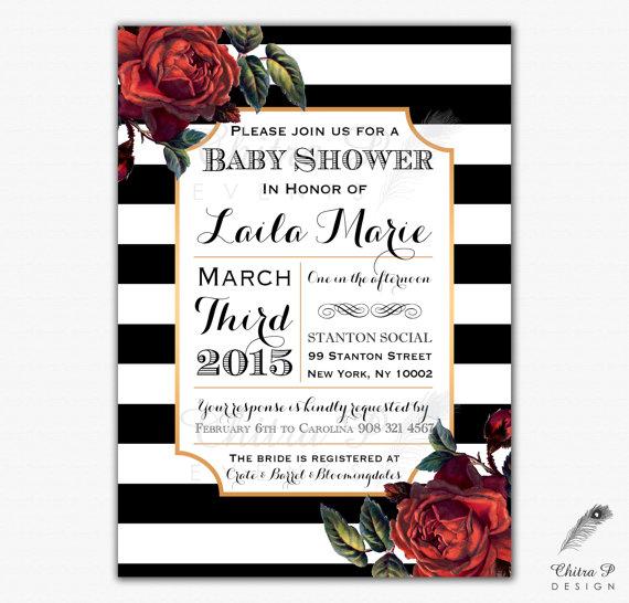 Modern Red And Black Rose Wedding Invitation