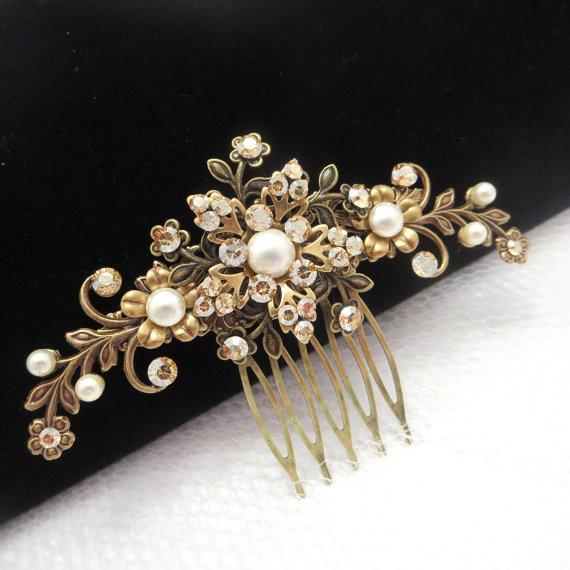 antique brass hair comb bridal hair comb wedding hair accessory flower hair comb rhinestone heade piece vintage style hair comb