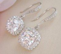 Square Bridal Earrings Wedding Earrings Crystal Bridal ...