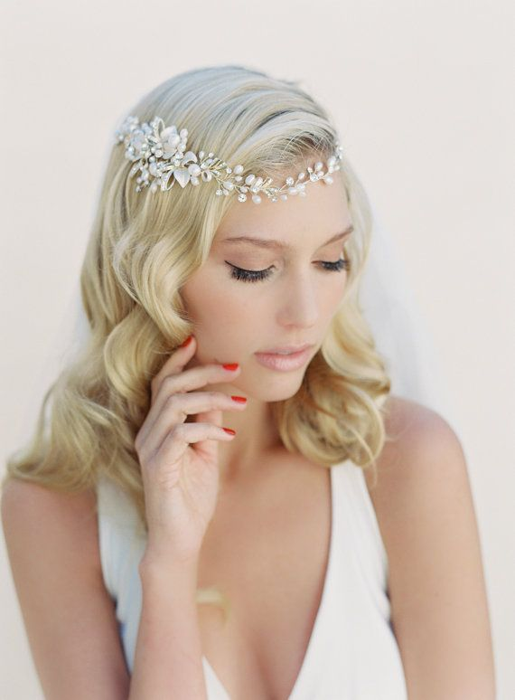 bridal hair wreath crystal and pearl hair garland bohemian wrap hair crown bridal headband style jazmin 1505