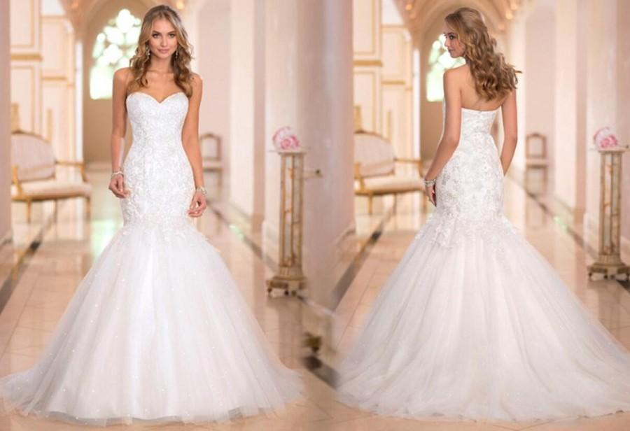 New Arrival Sweetheart Tull Applique 2015 Wedding Dresses