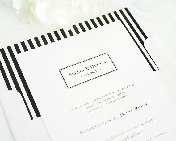 Striped Wedding Invitation Preppy Stripes White Black