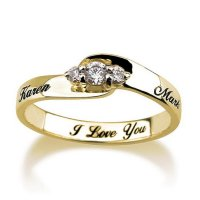 Engraved Engagement Promise Ring Gold Plated, Couples Ring ...