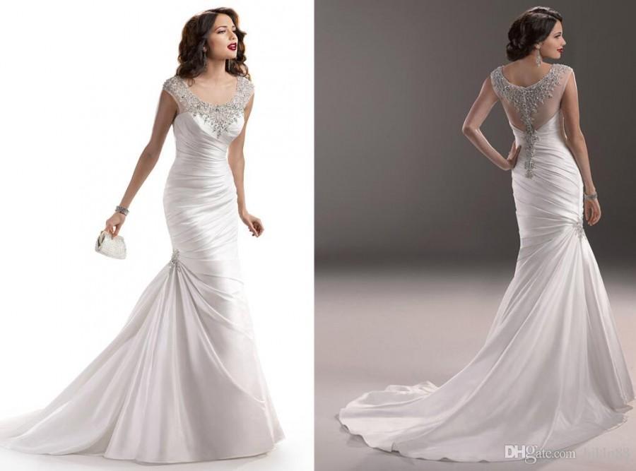 2015 New Arrival Satin Mermaid Backless Wedding Dresses