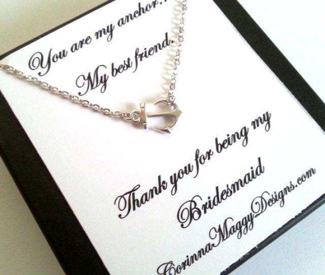 Bridesmaid Gift Sideways Anchor Necklace Wedding Gift Bridal Party Strength Best Friend Maid Of Honor Beach Wedding Summer Wedding