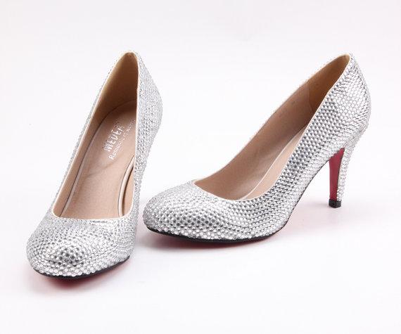 Rhinestone Clear Silver Crystal Bling Wedding Shoes