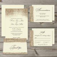 Gold Glitter Wedding Invitation Set Printable Digital ...