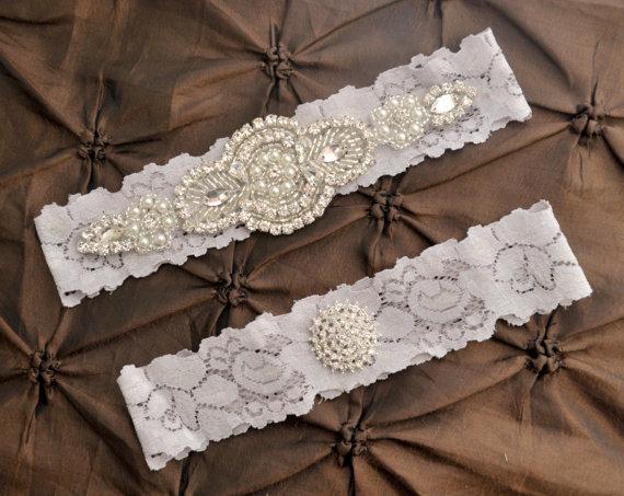 Wedding Garter Belt Bridal Garter Set Gray Lace Garter