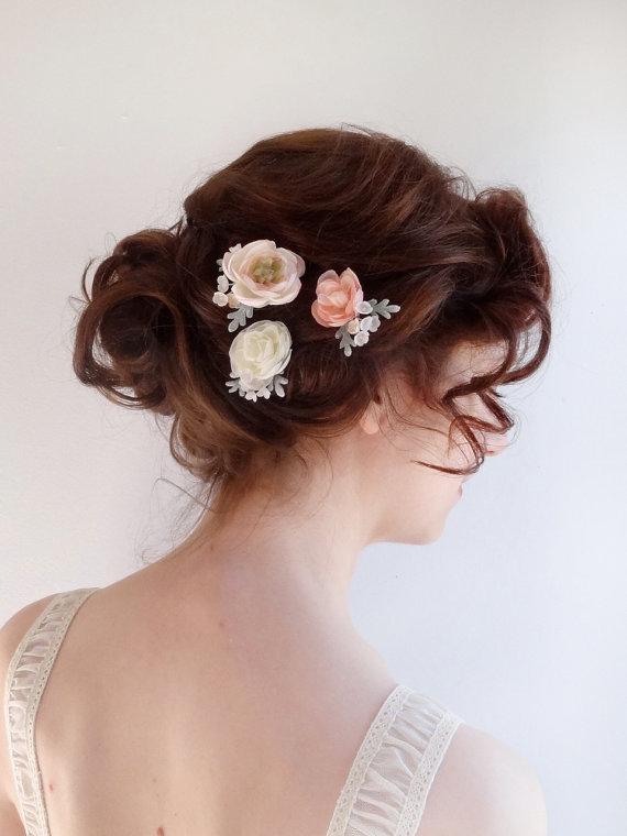 bridal hair piece flower hair pins blush flower ivory flower bridal hairpiece wedding hair accessories flower girl bridesmaid hair