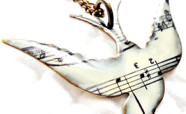 Unique Necklace Song Bird Necklace Music Note Necklace
