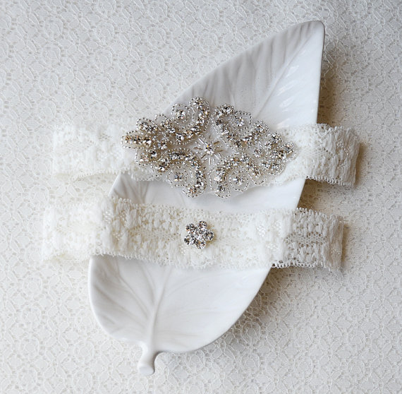 Wedding Garter Bridal Garter Set Ivory Lace Garter Belt