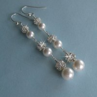 Extra Long Pearl And Crystal Earrings - Bridal Pearl ...