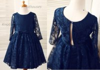 Long Sleeves Navy Blue Lace Flower Girl Dress Baby Girl ...