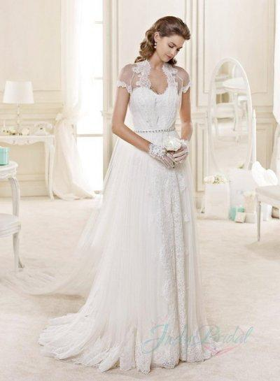 JW15135 Romantic Sheer Tulle Top Back Flowy Lace Garden Wedding Dress 2241108  Weddbook