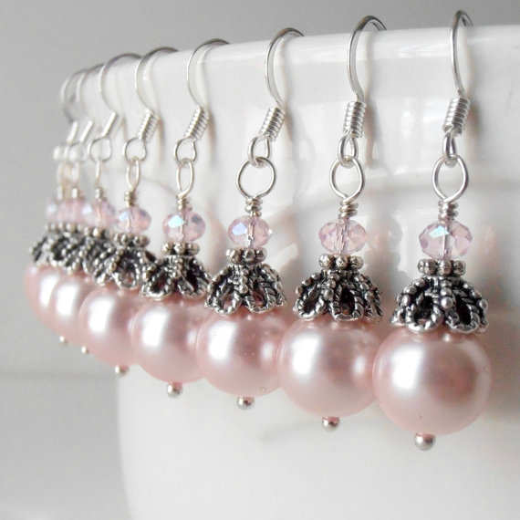 Bridesmaid Jewelry Pink Pearl Dangle Earrings In Antiqued