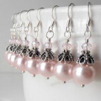 Bridesmaid Jewelry Pink Pearl Dangle Earrings In Antiqued ...