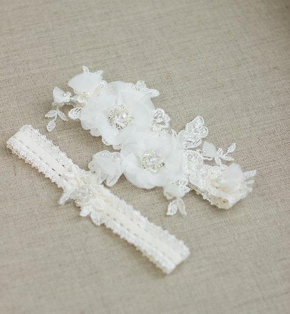 Bridal Garter Belt Wedding Garter Set Wedding Garter Belt Ivory