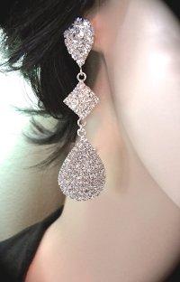 Long Crystal Rhinestone Earrings ~ Large Teardrops ...